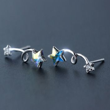 Lovely little stars 925 sterling silver earrings,a perfect gift