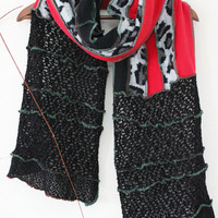 Red black scarf, Handmade scarf, Leopard Scarf, Great Scarf, Unique Christmas Gifts, Design scarves, Winter scarf Unisex, Black Velvet Scarf