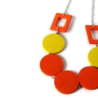 Neon Jewelry. Neon Necklace in Citrus Colors. Wood Necklace. Bright Colors. Perfect Summer Fashion. Ready to ship.