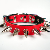"3/4"" wide Fire Red Leather Spiked Dog Collar with 1"" spikes for small or toy breed"