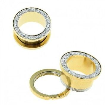 PAIR-Gold Plate w/Sand Blasted Top Screw On Tunnels 10mm/00 Gauge Body Jewelry
