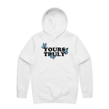 Yours Truly Butterflies Hoodie - White