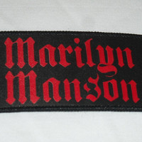 Marilyn Manson Patch Sew On Vintage 1990s 90s Heavy Metal Gothic Goth Black and Red Denim Vest Jacket Punk Rock and Roll Rocker Rock n Roll