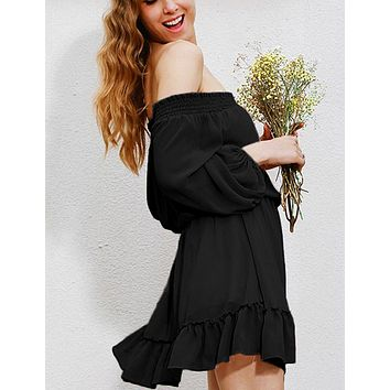 Fashion Women Sexy Off Shoulder Ruffled Chiffon Dress Black