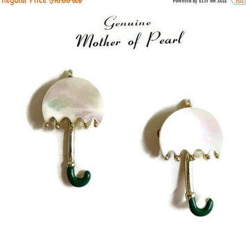 Mother of Pearl Umbrella Scatter Pins Brooch Vintage 1950s NOS