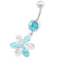 Pretty Flower Aquamarine Crystal Dangle Belly Button Ring For Girls [Gauge: 14G - 1.6mm / Length: 10mm] 316L Surgical Steel & Crystal