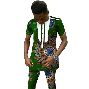 Traditional African Clothing Men's Set Short Sleeve Top and Dashiki Pants