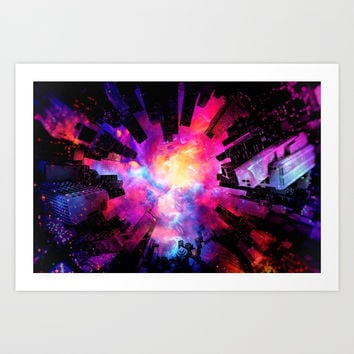 Abstract City Nebula Night Art Print by tmarchev