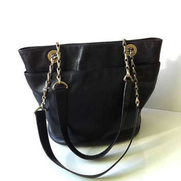 Vintage Celine Leather Chain Bucket Tote Bag