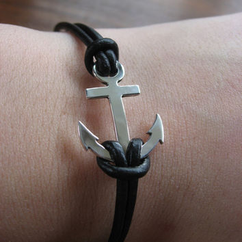 Handmade Silver Anchor Bracelet on a Black Leather Cord