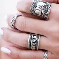 Vintage Bohemian 4PCs  Midi Mid knuckle Ring Set