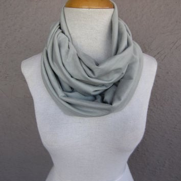 Light Grey Infinity Scarf - Extra Soft Jersey Knit Scarf - Grey Circle Scarf