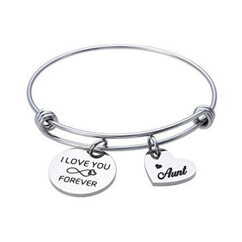 AUGUAU Jewelady I Love You Forever Engraved Infinity Bracelet Stainless Steel Expandable Bangle for Family Christmas Gifts