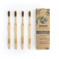 Wowe Natural Organic Bamboo Toothbrush Individually Numbered, BPA Free Charcoal Infused Bristles, Pack of 4 - Walmart.com