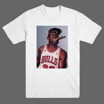 Michael Jordan Cigar Mike Champions NBA Finals Chicago Bulls T Shirt