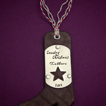 Country Christmas - Hand Stamped Personalized Leather and Stainless Steel Ornament - Hand Dyed -  Handmade Christmas Decoration Gift