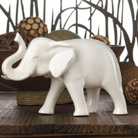Small White Ceramic Lucky Elephant