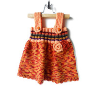 Knitted Girl Tunic Dress - Orange Multicolor, 9 - 12 months