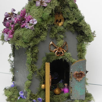 Furnished fairy house with hidden living space. Fairy garden, indoor garden, miniature furniture, fairy furniture. Mother's Day gift!