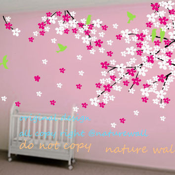 Baby nursery wall decals Cherry blossom tree branch decals kids flower white girl wall decor wall art- Cherry Blossom Tree