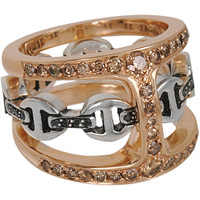 Rose Gold, Silver, Cognac & Black Diamond Phantom Clique Ring