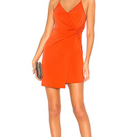 BCBGeneration Twist Wrap Surplice Dress in Saffron
