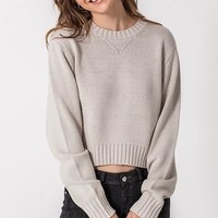 Campfire Cues Cropped Sweater - Sand