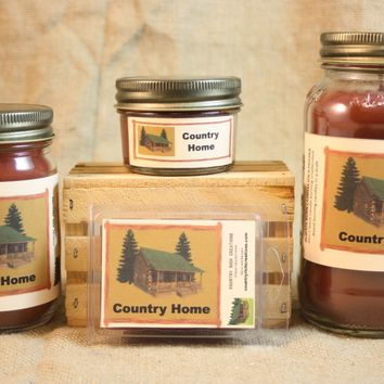 Country Home Scented Candle, Country Home Scented Wax Tarts, 26 oz, 12 oz, 4 oz Jar Candles or 3.5 Clam Shell Wax Melts