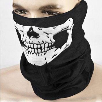 PEAPGB2 Halloween Scary Mask Festival Skull Masks Skeleton Outdoor Motorcycle Bicycle Multi Masks Scarf Half Face Mask Cap Neck Ghost