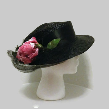 1940s Hat / 1950s Hat / Black Straw Wide Brim Hat with Pink Velvet Rose and Tulle Accents, Vera Whistler Original