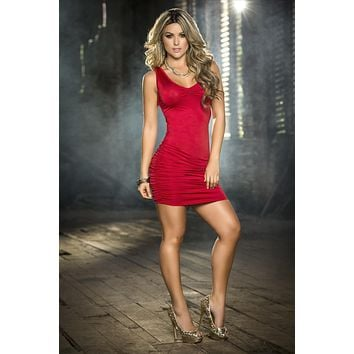 Sexy Tight Red Sleeveless Ruched Mini Dress (White and Black also available)