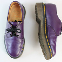 Purple Original Dr. Doc Martens Leather Shoes from England UK/US 3/5