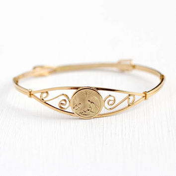 Vintage Baby Bangle - Children's 14k Rosy Yellow Gold Filled Our Guardian Angel Protect Us Bracelet - Tiny Kiddie Kraft Religous GF Jewelry