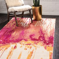 9971 Pink Abstract Contemporary Area Rugs