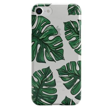 Tropical iPhone X 8 7 6s 6 Case BALI Topical Leaf iPhone Case Banana Leaves Silicone Case Summer Banana Leaf Case Palm Leaf iPhone Case