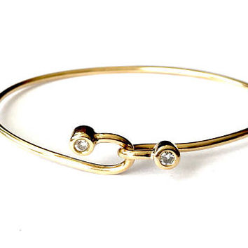 14k Gold Bangle Bracelet, With Diamonds, Yellow Gold, Oval Shape, Front Hook Closure, Vintage 1970s