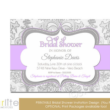 Lilac Gray Shimmer - Bridal Shower Invitation Lavender Grey - vintage style, distressed chic - Printable Invitation, You Print