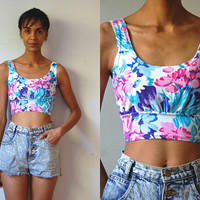 Vtg Floral Print Pink White Blue Strappy Crop Top