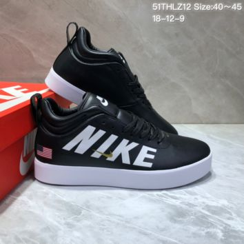 HCXX N691 Nike Tiempo Vetta 17 Big Letter US Mid Leather Casual Skate Shoes Black