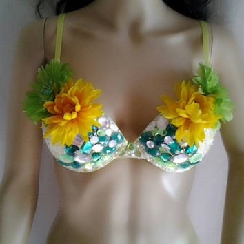 50 Shades of Green custom rave bra