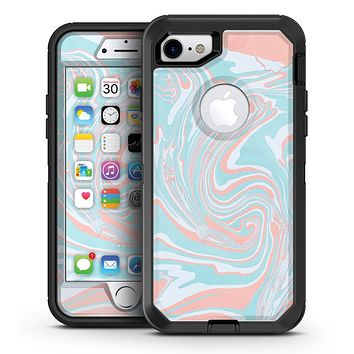 Marbleized Mint and Coral - iPhone 7 or 7 Plus OtterBox Defender Case Skin Decal Kit