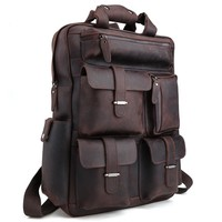 Rugged Tech Savvy Leather Backpack in Espresso