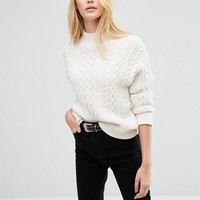 ASOS | ASOS Sweater With Cable Stitch And High Neck at ASOS