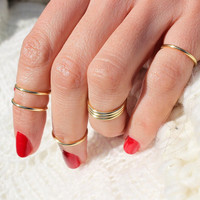 Gift Set of 7 Knuckle Rings,Gold Rings,Gold Knuckle Ring Set,Knuckle Ring,Gold Knuckle,Gold Skinny Rings,Above Knuckle Ring,Gold Midi Ring
