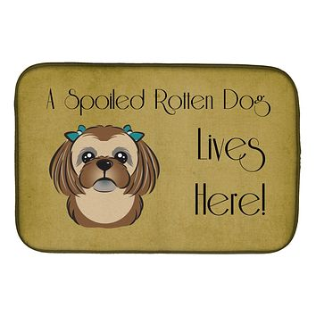 Chocolate Brown Shih Tzu Spoiled Dog Lives Here Dish Drying Mat BB1497DDM