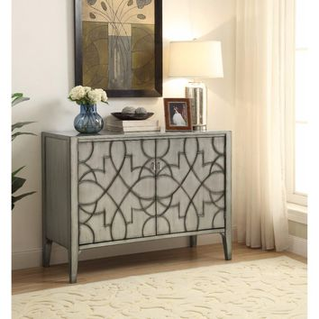 Wooden Accent Cabinet With Carved Detailed Pattern, Gray By Coaster