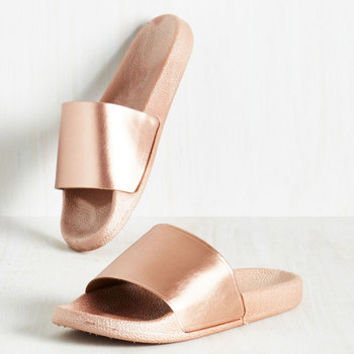 On the Bright Slide Sandal in Rose Gold  23ffc6352
