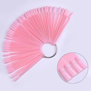 50 Pcs Fan Shaped Pink False Nail Tips Display Board Acrylic UV Polish Color Card for Manicure Gel Nail Art Practice Tool Kit