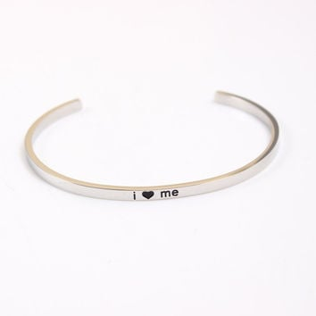 Stainless Steel Engraved Positive Inspirational Cuff Bracelets