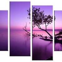 Wieco Art - Canvas Print, Stretched and Framed, Huge Canvas Print 4 Panels Purple Lake Modern Canvas Wall Art for Home Decoration, Canvas Art Print is Much Less Expensive than Oil Paintings P4RLA002